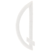 White Circular Monogram Iron-On Left Letter Q - 1 3/4""