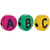 Multi-Color Round Alphabet Beads