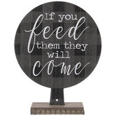 Feed Them They Will Come Buffalo Check Wood Decor