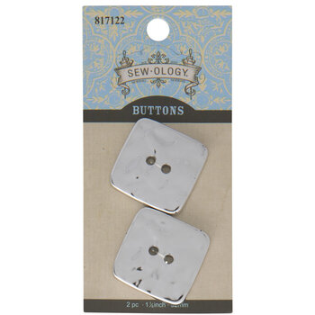 Silver Square Buttons - 32mm