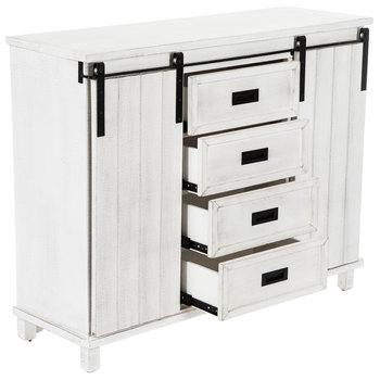 Whitewash Sliding Barn Door Wood Cabinet