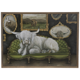 Bull On Parlor Couch Wood Wall Decor