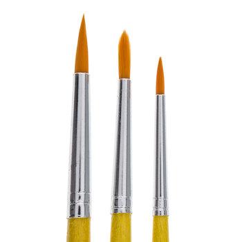Gold Nylon Round Paint Brushes - 3 Piece Set