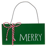 Green & White Merry Ornament