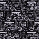 Black King Of Kings Chalk Cotton Calico Fabric