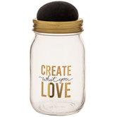 Create What You Love Mason Jar With Pin Cushion