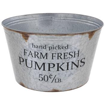 Farm Fresh Pumpkins Galvanized Metal Container