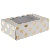 White & Gold Foil Polka Dot Cupcake Boxes