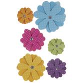 Polka Dot Glitter Flower 3D Stickers