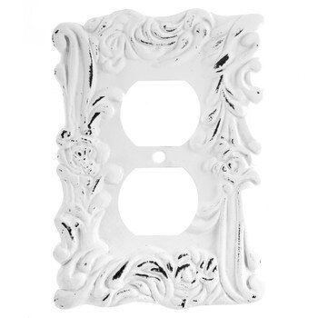 Distressed White Flourishing Metal Outlet Cover