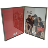 """Pewter Hinged Metal Double Frame - 8"""" x 10"""""""