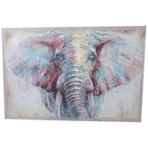 Patchwork Elephant Canvas Wall Decor
