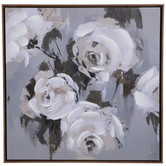 White & Gray Roses Canvas Wall Decor