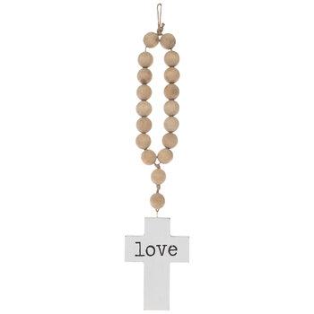 Love Beaded Wood Wall Cross