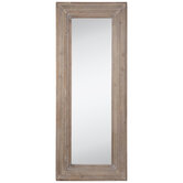 Whitewashed Stepped Wood Wall Mirror