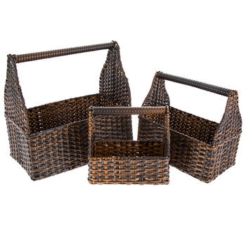 Brown Rectangle Toolbox Basket Set