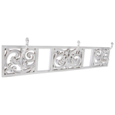Distressed White Scroll Wood Wall Decor With Hooks