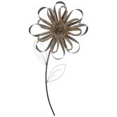 Galvanized Metal & Braided Flower Wall Decor