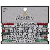 Christmas Phrases Beaded Bracelets