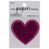 Pink Heart Glitter & Rhinestones Sticker