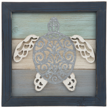 Filigree Sea Turtle Wood Wall Decor