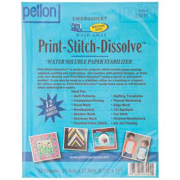 Print-Stitch-Dissolve Water Soluble Paper Stabilizer