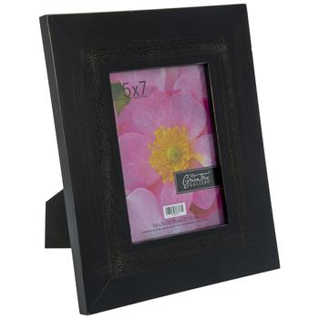 """Black Floral Wood Frame - 5"""" x 7"""""""