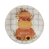 Grateful, Thankful & Blessed Pumpkin Paper Plates - Small
