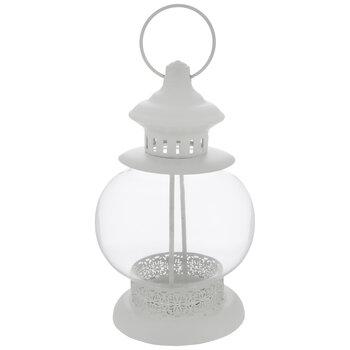 White Round Glass Lantern Candle Holder