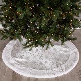 White & Silver Foil Snowflakes Velvet Tree Skirt