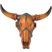 Painted Bull Skull Wall Decor