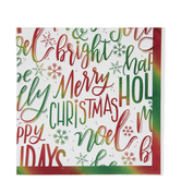 Green & Red Foil Merry Christmas Napkins