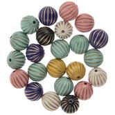 Multi-Color Round Corrugated Beads