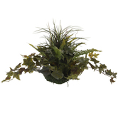 Green Mixed Grass & Bath Fern Topper