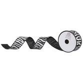Zebra Striped Wired Edge Burlap Ribbon - 1 1/2""