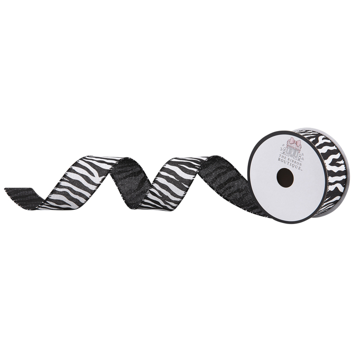 5 Yards Pink Zebra Print Furry Edged Wired Ribbon