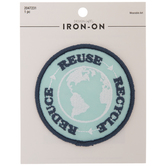 Reduce Reuse Recycle Earth Iron-On Applique