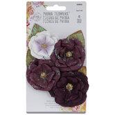 Purple Glitter Flower Embellishments