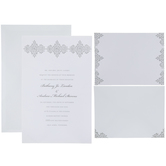 White & Silver Damask Wedding Invitations