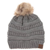 Light Melange Gray C.C. Pom Pom Beanie
