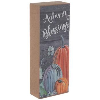 Autumn Blessings Pumpkin Wood Decor