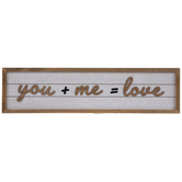 You + Me Equals Love Wood Wall Decor