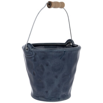 Blue Dimpled Bucket With Handle