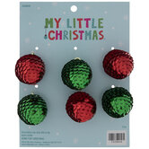 Mini Red & Green Sequin Ball Ornaments