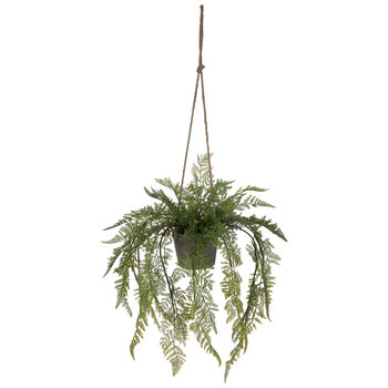 Ferns In Gray Flower Pot Hanging Decor