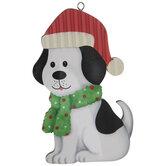 White Dog In Santa Hat Ornament