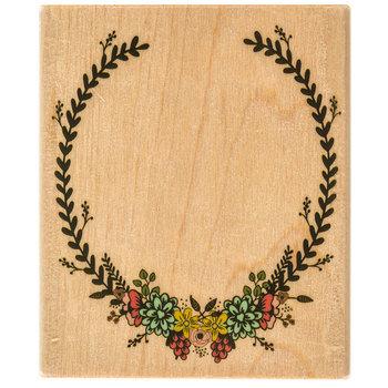 Oval Floral Frame Rubber Stamp