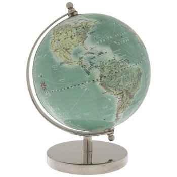 Blue Globe On Silver Metal Stand