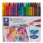 Marsgraphic Duo Watercolor Brush Markers - 36 Piece Set