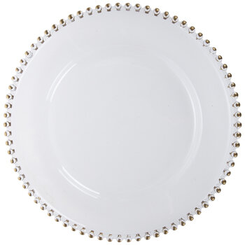 Transparent Plate Charger With Beaded Trim